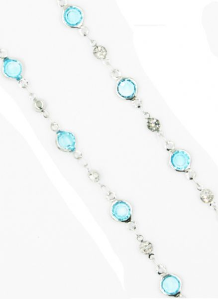 Silver necklace with light blue crystal 40 inch/100cm
